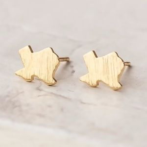 Gold Texas state dainty stud earrings